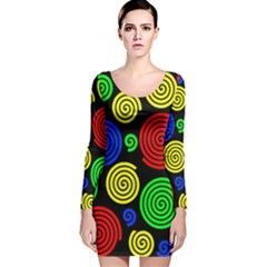 Colorful Hypnoses Long Sleeve Velvet Bodycon Dress