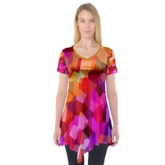 Geometric Fall Pattern Short Sleeve Tunic