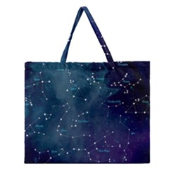 Constellations Zipper Large Tote Bag by DanaeStudio