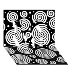 Black And White Hypnoses Love 3d Greeting Card (7x5) by Valentinaart