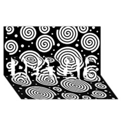 Black And White Hypnoses Best Sis 3d Greeting Card (8x4) by Valentinaart