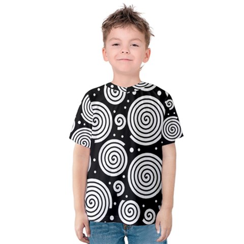 Black And White Hypnoses Kid s Cotton Tee by Valentinaart
