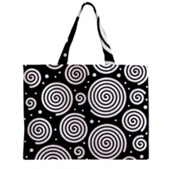 Black And White Hypnoses Zipper Mini Tote Bag by Valentinaart