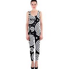 Black And White Hypnoses Onepiece Catsuit by Valentinaart