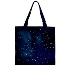 Constellations Zipper Grocery Tote Bag by DanaeStudio
