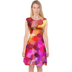 Geometric Fall Pattern Capsleeve Midi Dress by DanaeStudio