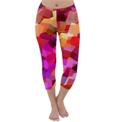 Geometric Fall Pattern Capri Winter Leggings  by DanaeStudio