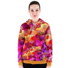 Geometric Fall Pattern Women s Zipper Hoodie