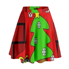 Christmas Sock High Waist Skirt by Valentinaart