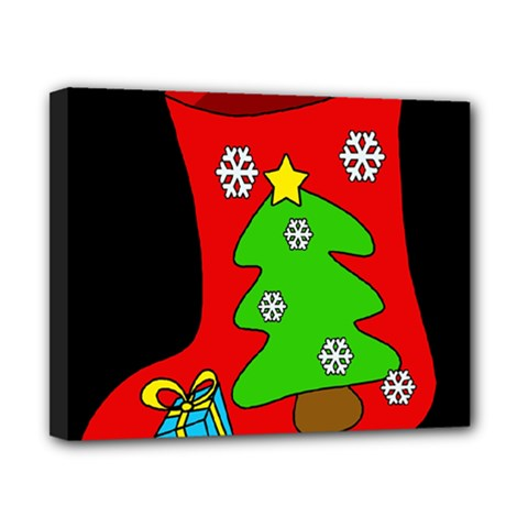 Christmas Sock Canvas 10  X 8  by Valentinaart