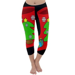 Christmas Sock Capri Winter Leggings  by Valentinaart