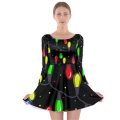 Christmas Light Long Sleeve Skater Dress by Valentinaart