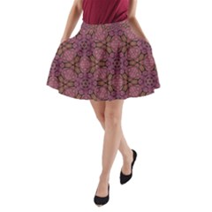Fuchsia Abstract Shell Pattern A-line Pocket Skirt