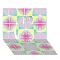 Pastel Block Tiles Pattern Apple 3d Greeting Card (7x5) by TanyaDraws