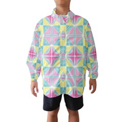 Pastel Block Tiles Pattern Wind Breaker (kids)