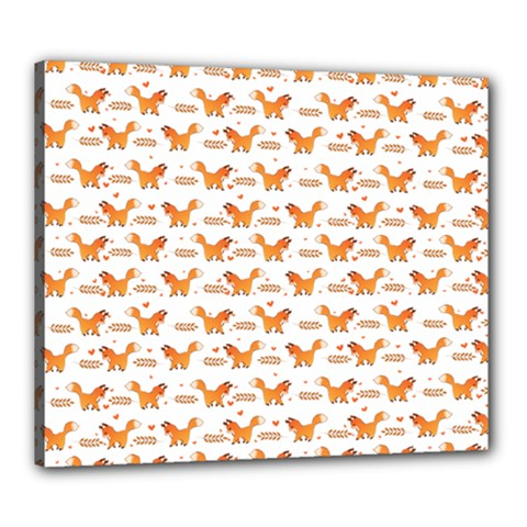 Fox And Laurel Pattern Canvas 24  X 20  by TanyaDraws