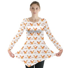 Fox And Laurel Pattern Long Sleeve Tunic  by TanyaDraws
