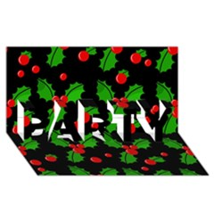 Christmas Berries Pattern  Party 3d Greeting Card (8x4) by Valentinaart