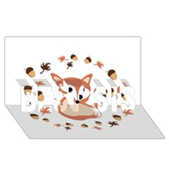 Fox In Autumn Best Sis 3d Greeting Card (8x4) by vanessagf