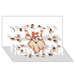 Fox In Autumn Happy New Year 3d Greeting Card (8x4)