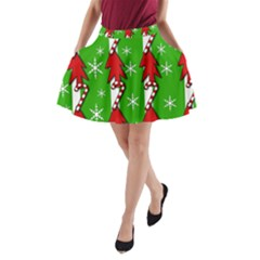 Christmas Pattern   Green A Line Pocket Skirt by Valentinaart