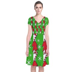 Christmas Pattern   Green Short Sleeve Front Wrap Dress by Valentinaart