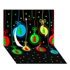 Christmas Balls Circle 3d Greeting Card (7x5) by Valentinaart