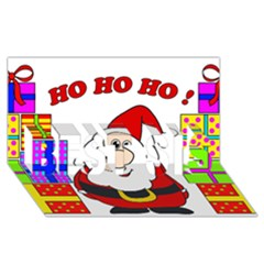 Santa Claus Pattern   Transparent Best Sis 3d Greeting Card (8x4) by Valentinaart