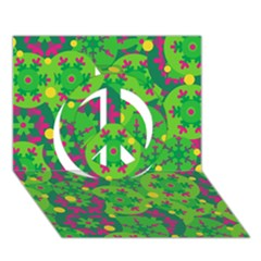 Christmas Decor   Green Peace Sign 3d Greeting Card (7x5) by Valentinaart