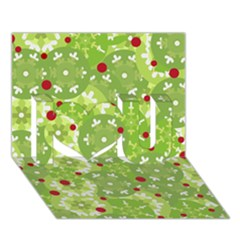 Green Christmas Decor I Love You 3d Greeting Card (7x5) by Valentinaart