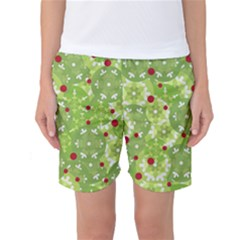 Green Christmas Decor Women s Basketball Shorts by Valentinaart