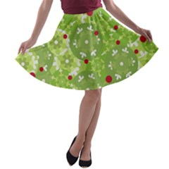 Green Christmas Decor A Line Skater Skirt by Valentinaart