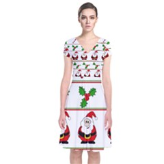 Christmas Pattern Short Sleeve Front Wrap Dress by Valentinaart