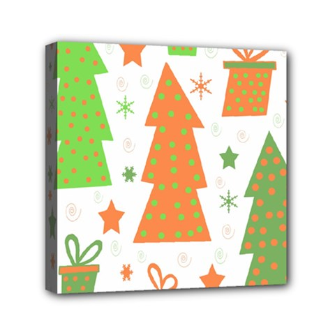 Christmas Design   Green And Orange Mini Canvas 6  X 6  by Valentinaart