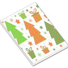 Christmas Design   Green And Orange Large Memo Pads by Valentinaart