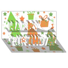 Christmas Design   Green And Orange Happy Birthday 3d Greeting Card (8x4) by Valentinaart