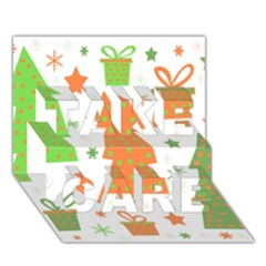 Christmas Design   Green And Orange Take Care 3d Greeting Card (7x5) by Valentinaart