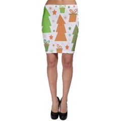 Christmas Design - Green And Orange Bodycon Skirt by Valentinaart
