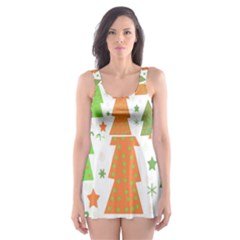 Christmas Design   Green And Orange Skater Dress Swimsuit by Valentinaart