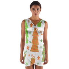 Christmas Design   Green And Orange Wrap Front Bodycon Dress by Valentinaart