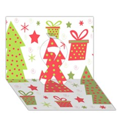 Christmas Design   Green And Red Ribbon 3d Greeting Card (7x5)