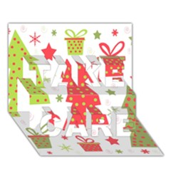 Christmas Design   Green And Red Take Care 3d Greeting Card (7x5) by Valentinaart
