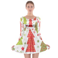 Christmas Design   Green And Red Long Sleeve Skater Dress by Valentinaart