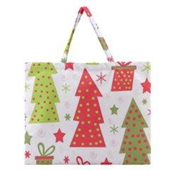 Christmas Design   Green And Red Zipper Large Tote Bag by Valentinaart