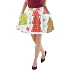Christmas Design   Green And Red A Line Pocket Skirt by Valentinaart
