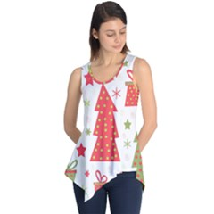 Christmas Design   Green And Red Sleeveless Tunic by Valentinaart