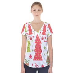 Christmas Design   Green And Red Short Sleeve Front Detail Top by Valentinaart