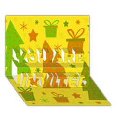 Christmas Design   Yellow You Are Invited 3d Greeting Card (7x5)