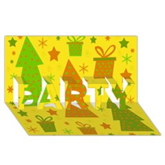 Christmas Design   Yellow Party 3d Greeting Card (8x4) by Valentinaart