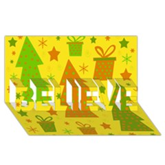 Christmas Design   Yellow Believe 3d Greeting Card (8x4)